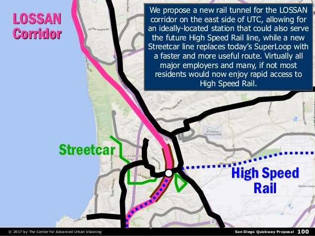 San Diego Quickway Proposal© 2017 by The Center for Advanced Urban Visioning 100 LOSSAN Corridor High Speed Rail Streetcar...