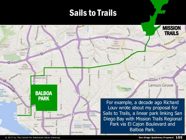 San Diego Quickway Proposal© 2017 by The Center for Advanced Urban Visioning 105 Sails to Trails MISSION TRAILS BALBOA PAR...