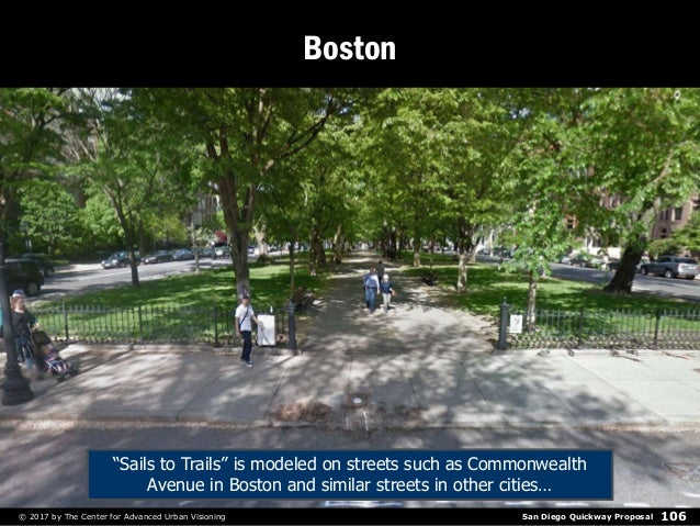 """San Diego Quickway Proposal© 2017 by The Center for Advanced Urban Visioning 106 Boston """"Sails to Trails"""" is modeled on st..."""