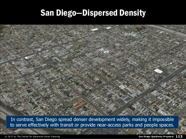 San Diego Quickway Proposal© 2017 by The Center for Advanced Urban Visioning 113 San Diego—Dispersed Density In contrast, ...