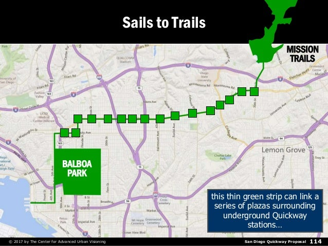 San Diego Quickway Proposal© 2017 by The Center for Advanced Urban Visioning 114 Sails to Trails this thin green strip can...