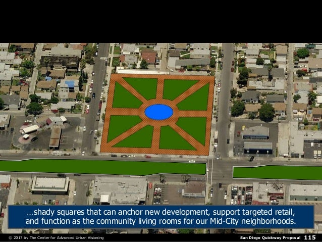 San Diego Quickway Proposal© 2017 by The Center for Advanced Urban Visioning 115 …shady squares that can anchor new develo...