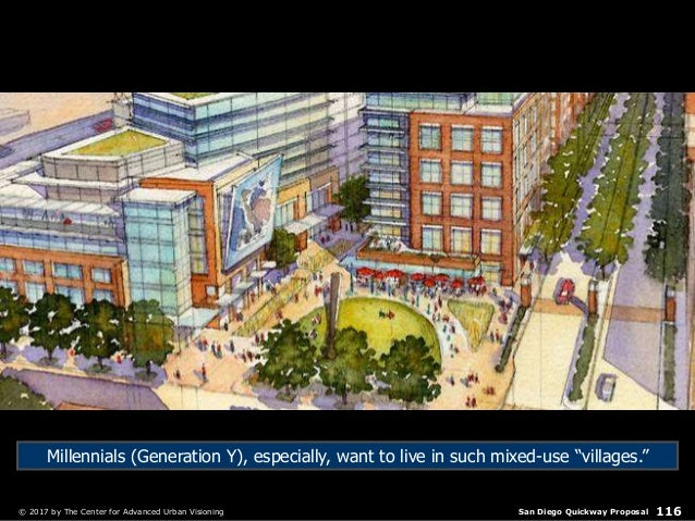 San Diego Quickway Proposal© 2017 by The Center for Advanced Urban Visioning 116 Millennials (Generation Y), especially, w...