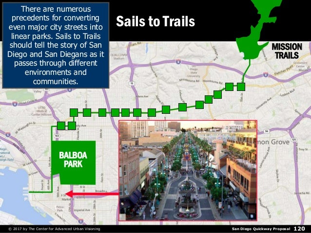 San Diego Quickway Proposal© 2017 by The Center for Advanced Urban Visioning 120 Sails to Trails There are numerous preced...