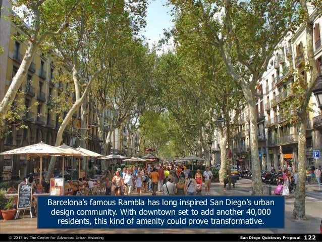 San Diego Quickway Proposal© 2017 by The Center for Advanced Urban Visioning 122 Barcelona's famous Rambla has long inspir...