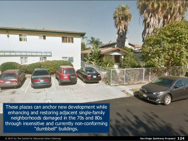San Diego Quickway Proposal© 2017 by The Center for Advanced Urban Visioning 124 These plazas can anchor new development w...