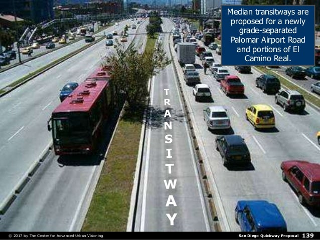 San Diego Quickway Proposal© 2017 by The Center for Advanced Urban Visioning 139 Median transitways are proposed for a new...
