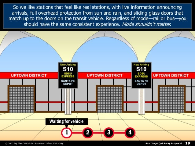 San Diego Quickway Proposal© 2017 by The Center for Advanced Urban Visioning 19 So we like stations that feel like real st...