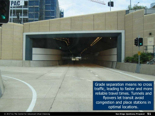 San Diego Quickway Proposal© 2017 by The Center for Advanced Urban Visioning 51 Grade separation means no cross traffic, l...