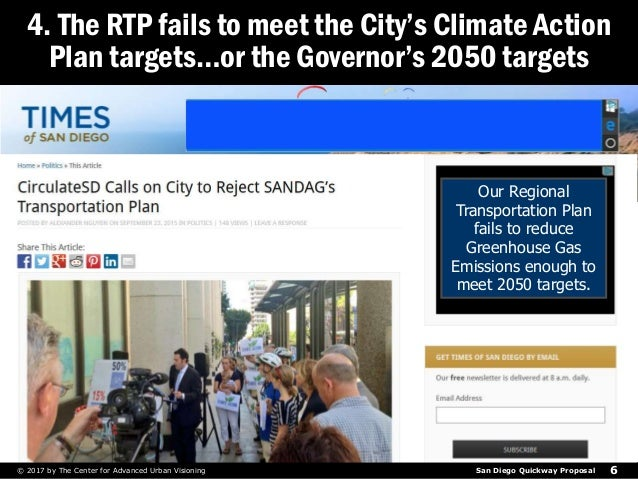San Diego Quickway Proposal© 2017 by The Center for Advanced Urban Visioning 6 4. The RTP fails to meet the City's Climate...