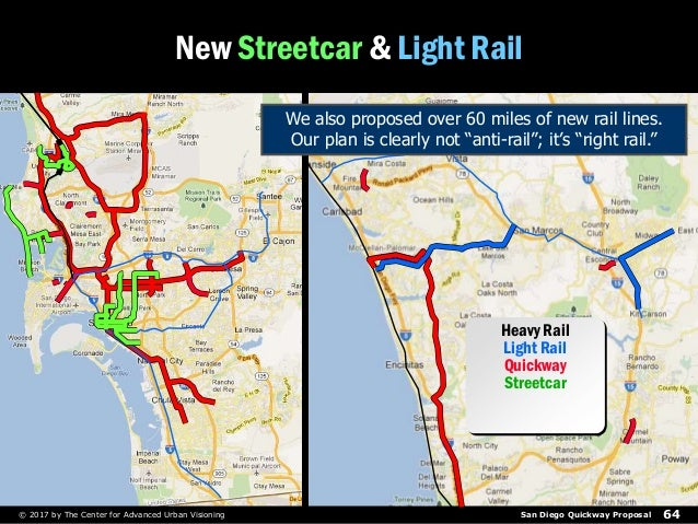 San Diego Quickway Proposal 64© 2017 by The Center for Advanced Urban Visioning New Streetcar & Light Rail Heavy Rail Ligh...