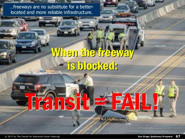 San Diego Quickway Proposal© 2017 by The Center for Advanced Urban Visioning 67 Transit = FAIL! When the freeway is blocke...