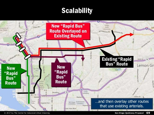 San Diego Quickway Proposal 69© 2017 by The Center for Advanced Urban Visioning Scalability …and then overlay other routes...