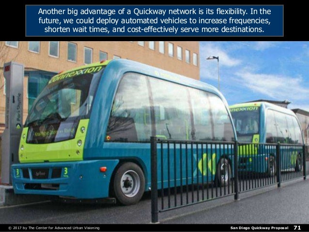 San Diego Quickway Proposal© 2017 by The Center for Advanced Urban Visioning 71 Another big advantage of a Quickway networ...