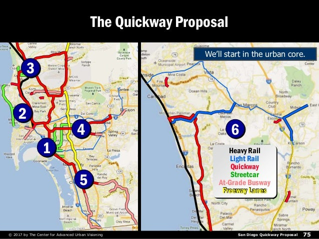 San Diego Quickway Proposal 75© 2017 by The Center for Advanced Urban Visioning The Quickway Proposal Heavy Rail Light Rai...