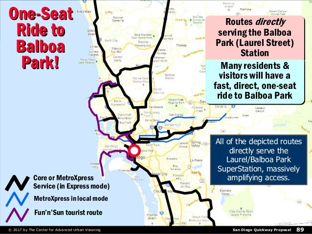 San Diego Quickway Proposal© 2017 by The Center for Advanced Urban Visioning 89 Routes directly serving the Balboa Park (L...