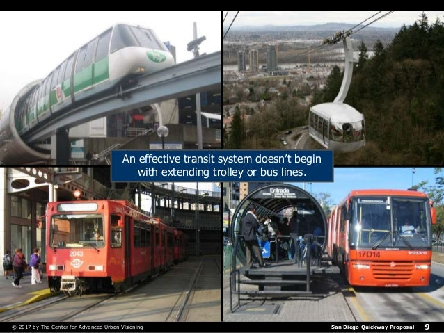 San Diego Quickway Proposal© 2017 by The Center for Advanced Urban Visioning 9 An effective transit system doesn't begin w...