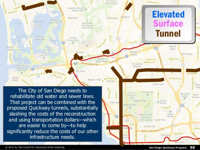 San Diego Quickway Proposal 90© 2017 by The Center for Advanced Urban Visioning Elevated Surface Tunnel The City of San Di...