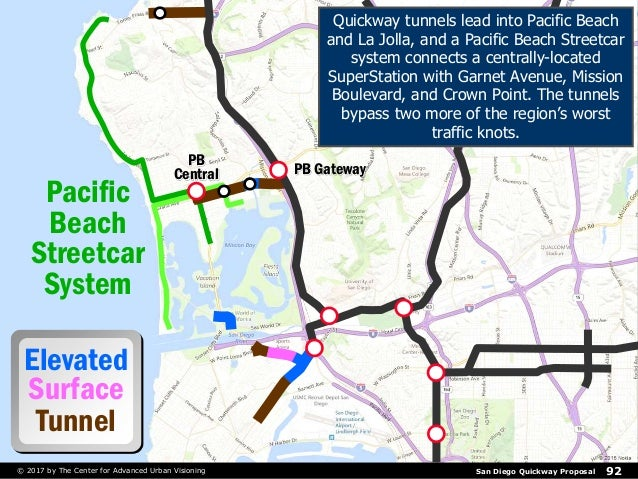 San Diego Quickway Proposal 92© 2017 by The Center for Advanced Urban Visioning Pacific Beach Streetcar System Elevated Su...