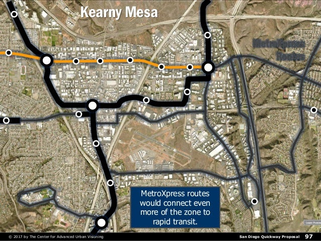 San Diego Quickway Proposal© 2017 by The Center for Advanced Urban Visioning 97 MetroXpress Routes MetroXpress routes woul...
