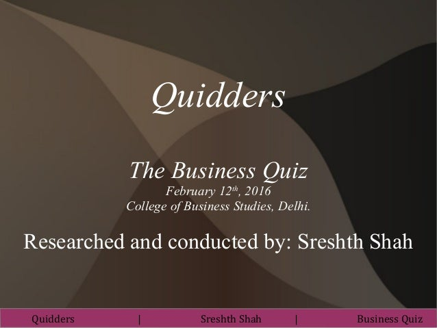 Inter College Business Quiz @ College of Business Studies