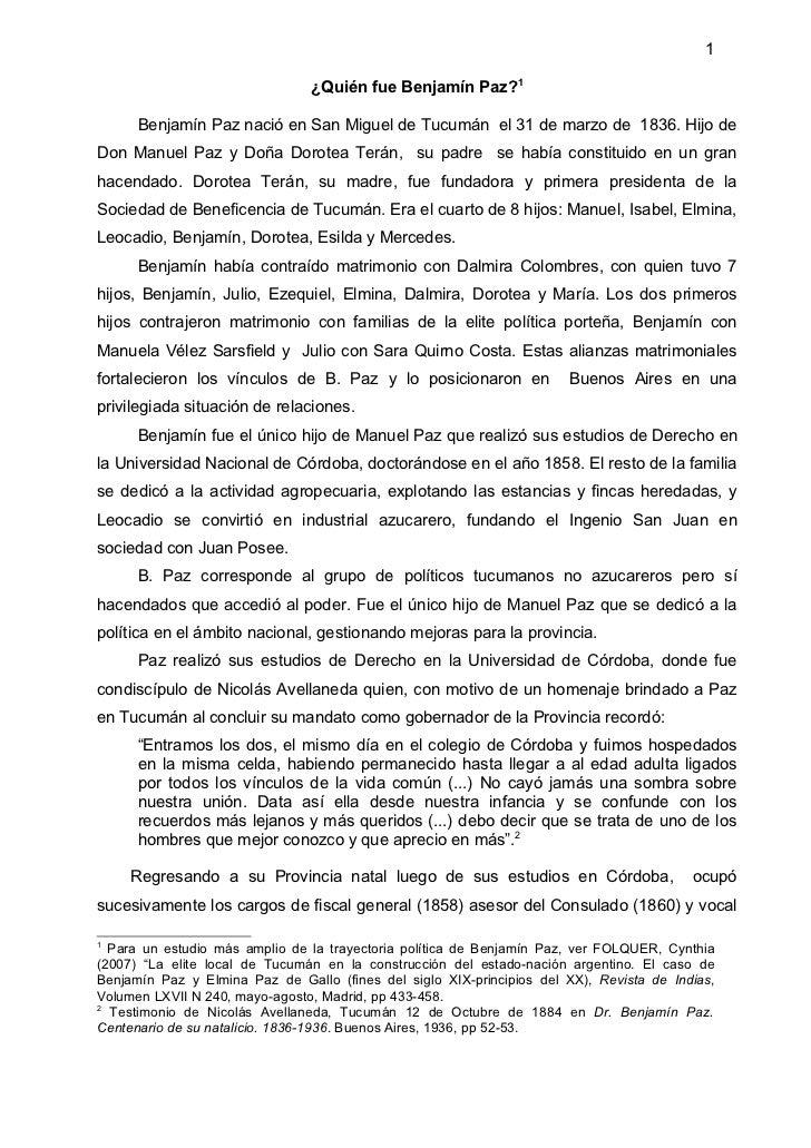 1                                ¿Quién fue Benjamín Paz?1      Benjamín Paz nació en San Miguel de Tucumán el 31 de marzo...