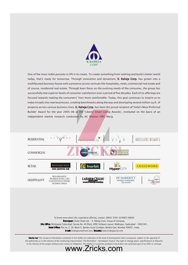 K Raheja Quiescent Heights Brochure Zricks Com