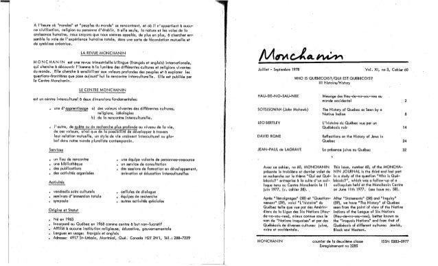 58-Qui est Québécois? Témoignages. Ka-Ien-Ta-Ron-Kwen, D. Blanchette-Mukerjee et al. (Textes fr. et angl.) (document à télécharger en format PDF, 1,2Mb). Slide 2