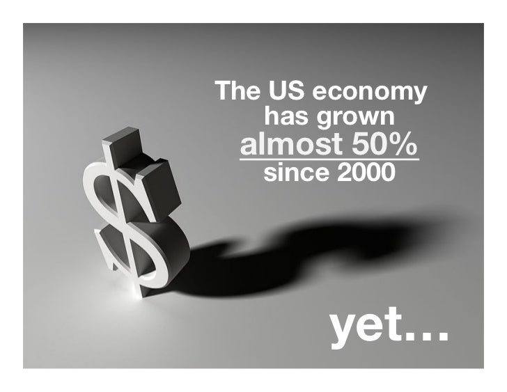 """The US economy   has grown almost 50%   since 2000 """"        yet…"""