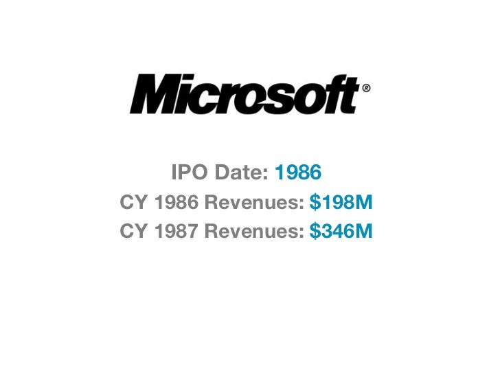IPO Date: 1986CY 1986 Revenues: $198MCY 1987 Revenues: $346M
