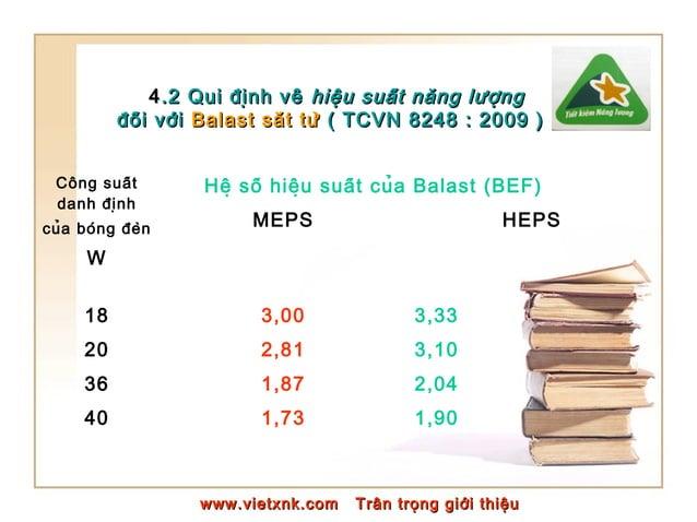 44.2 Qui định về.2 Qui định về hiệu suất năng lượnghiệu suất năng lượng đối vớiđối với Balast sắt từBalast...
