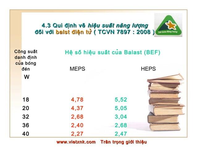 4.3 Qui định về4.3 Qui định về hiệu suất năng lượnghiệu suất năng lượng đối vớiđối với balst điện tửbalst ...