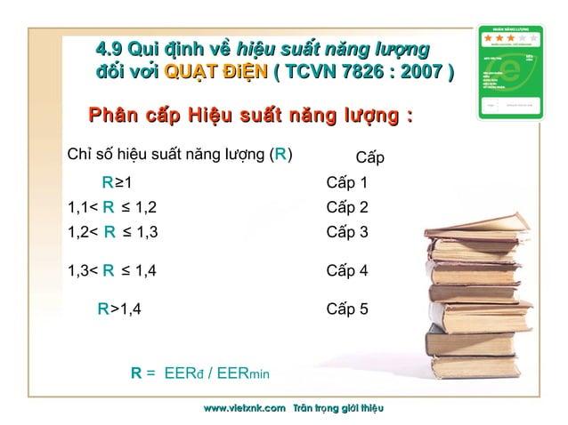 Phân cấp Hiệu suất năng lượng :Phân cấp Hiệu suất năng lượng : 4.9 Qui định về4.9 Qui định về hiệu suất năng lượngh...