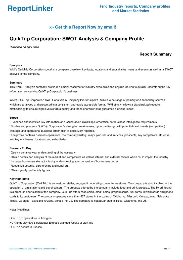 QuikTrip Corporation: SWOT Analysis & Company Profile