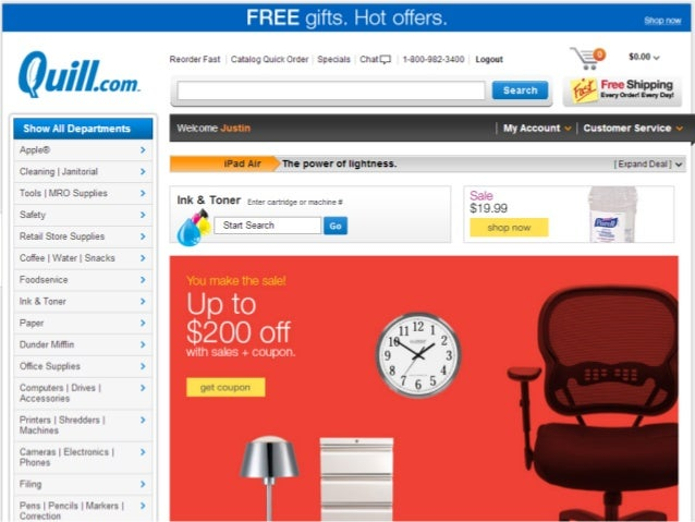 B2B eCommerce Site Example:  Quill.com Slide 3