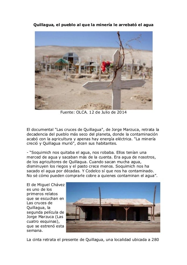 """Quillagua, el pueblo al que la minería le arrebató el agua Fuente: OLCA. 12 de Julio de 2014 El documental """"Las cruces de ..."""