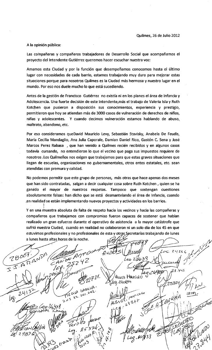 Quilmes Carta de Apoyo a la Secretaria de Desarrollo Social - 26/07/12