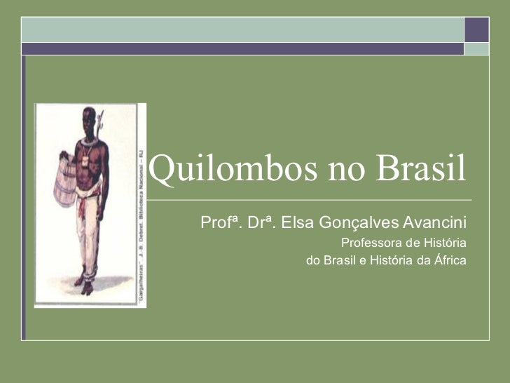 Quilombos no Brasil Profª. Drª. Elsa Gonçalves Avancini Professora de História do Brasil e História da África