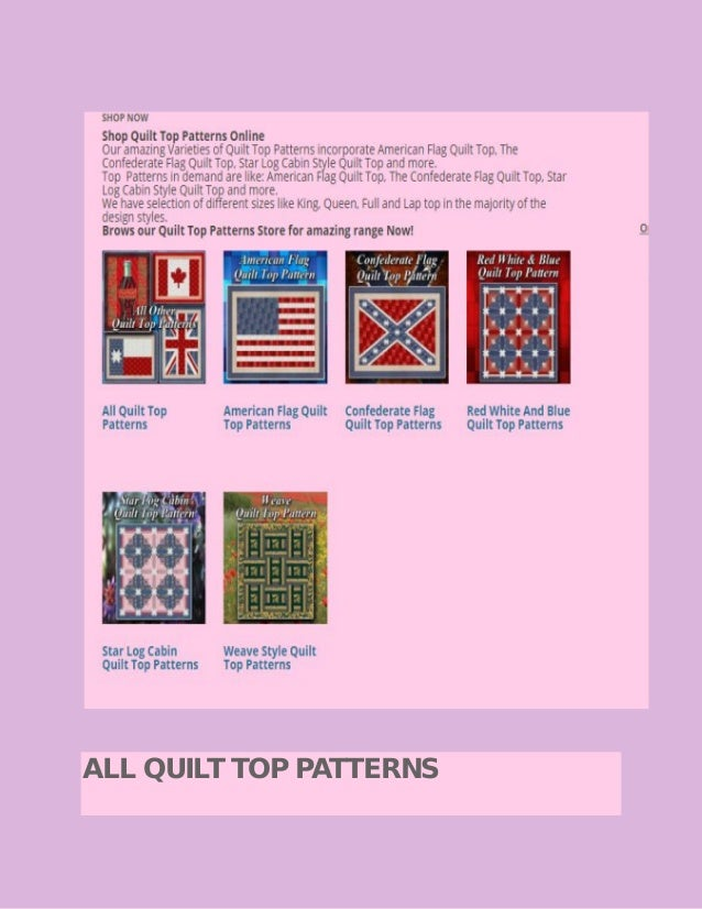 Quilt Top Patterns Store