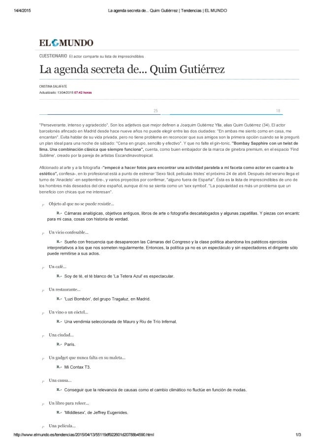 Quim Gutiérrez, fan de lateterazul