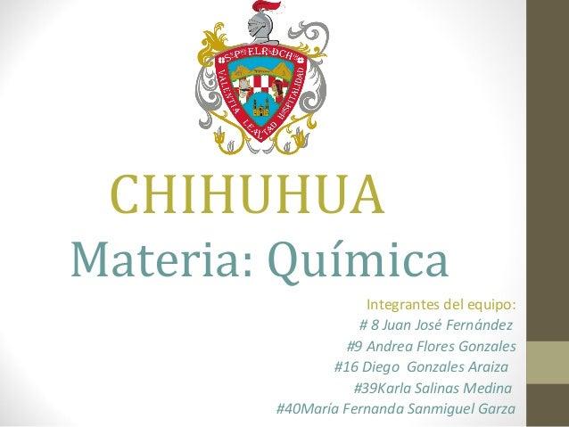 CHIHUHUA Materia: Química Integrantes del equipo: # 8 Juan José Fernández #9 Andrea Flores Gonzales #16 Diego Gonzales Ara...