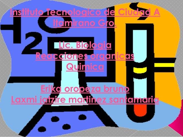 Instituto Tecnologico de Ciudad A            ltamirano Gro.         Lic. Biologia     Reacciones organicas           Quimi...