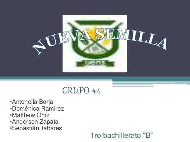 "GRUPO #4 •Antonella Borja •Doménica Ramírez •Matthew Ortiz •Anderson Zapata •Sebastián Tabares 1ro bachillerato ""B"""