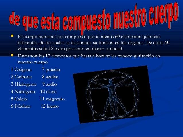  El cuerpo humano esta compuesto por al menos 60 elementos químicosEl cuerpo humano esta compuesto por al menos 60 elemen...