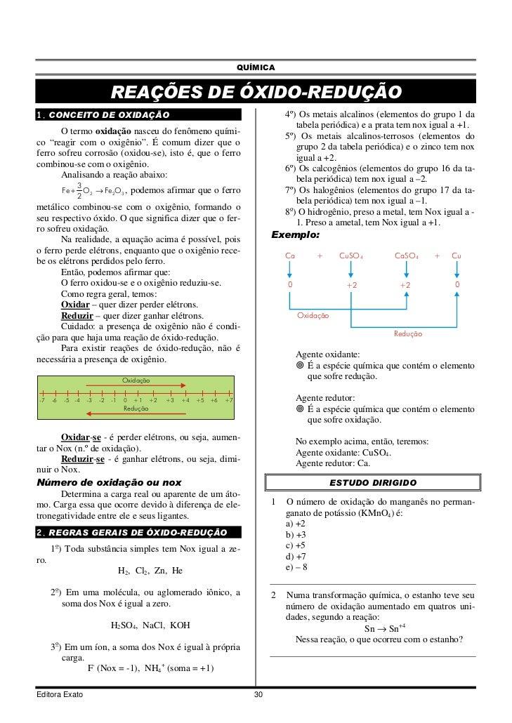 QUÍMICA                              REAÇÕES DE ÓXIDO-REDUÇÃO1. CONCEITO DE OXIDAÇÃO                                      ...