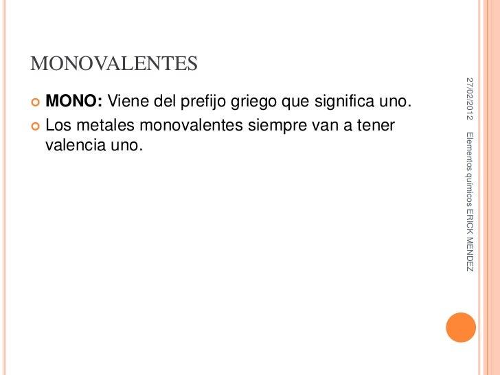 monovalentes - Tabla Periodica De Los Elementos Quimicos Monovalentes