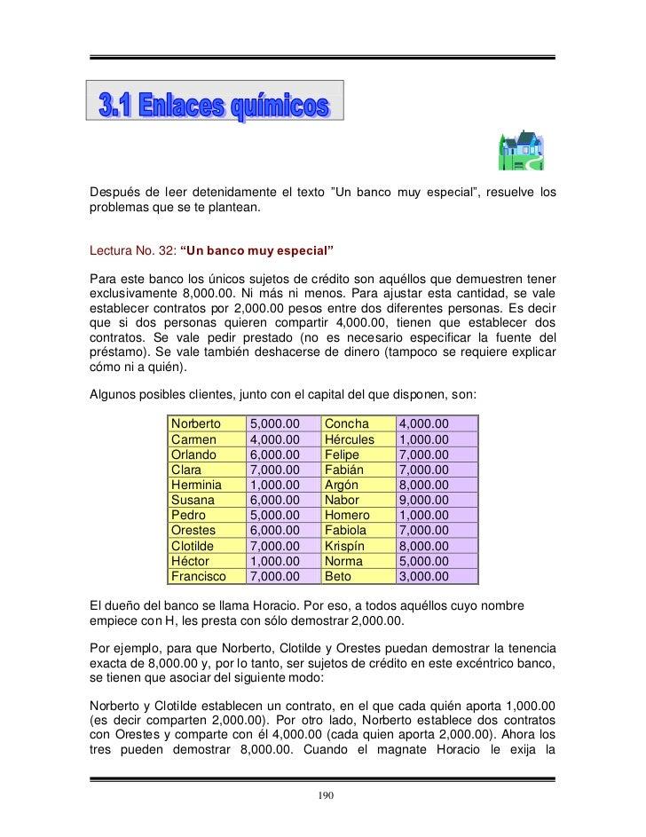 """Después de leer detenidamente el texto """"Un banco muy especial"""", resuelve los problemas que se te plantean.   Lectura No. 3..."""