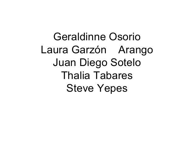 Geraldinne Osorio Laura Garzón Arango Juan Diego Sotelo Thalia Tabares Steve Yepes