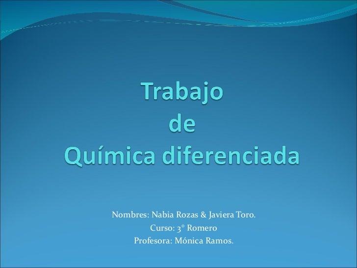 Nombres: Nabia Rozas & Javiera Toro. Curso: 3° Romero Profesora: Mónica Ramos.