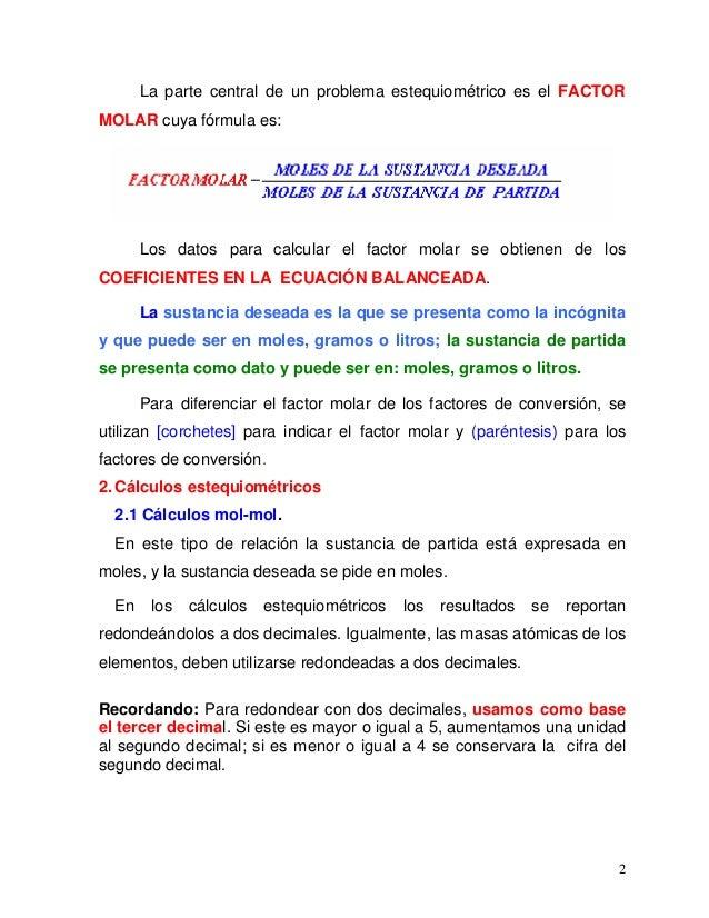 Hermosa EstequiometrÃa Problemas Molares Mol Hoja De Cálculo ...